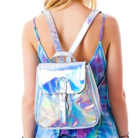 Women's Rainbow Hologram Bagpacks Laser Silver Color Holographic Mirror Mini Shoulder Bags