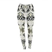 "Dawid Roc ""The Palace Walls III"" White Abstract Yoga Leggings"