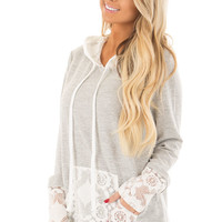 Heather Grey Hoodie with White Lace Contrast