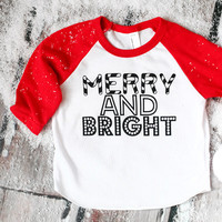 Merry and Bright Raglan - RED OR BLACK SLEEVES