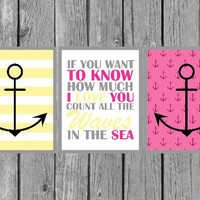 "Nautical wall art/girls room art/playroom decor/kids wall art/Hot Pink/Yellow/Set of 3 8""x10"" Prints"