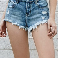 Bullhead Denim Co. Dude Blue High Rise Braided Cutoff Denim Shorts at PacSun.com