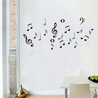 Vinyl Bedroom Decoration Poster Wallpapers DIY Music symbols Removable Wall Sticker for Living Room Window Home Decor