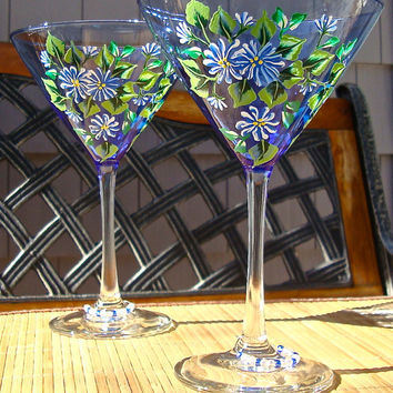 Hand Painted Cocktail Glasses With Blue and White Flowers