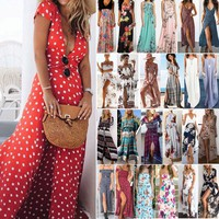 Womens Boho Floral Summer Beach Holiday Evening Party Cocktail Maxi Long Dress