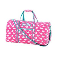 Personalized Hot Pink Whale Duffle Bag