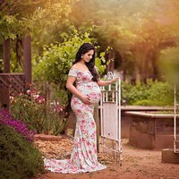 Floral Print Off Shoulder Maternity Photoshoot Dress