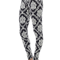 Women's Regular Graphic Flower Pattern Print Leggings - Black White