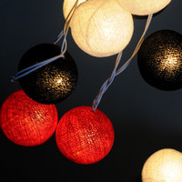 Black white red chili beauty summer mix cotton ball string light patio bedroom decor party wedding light pompom ball