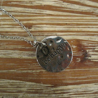 """Silver """"Be Happy"""" Necklace - Solid Silver """"Be Happy"""" Necklace - Medallion Necklace - Happy Jewelry - Sentiment Jewelry"""