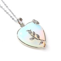 STYLEDOME Natural Heart Stone Pendant Chain Necklace Opal Love Necklace Silver Leaf Flower Wire Wrapped Quartz Crystal Pendant For Womens