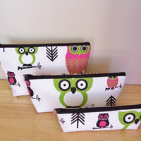 OWLS Bright Bag Set Waterproof Lining Zippered Cosmetic Make Up Bag/Pouch/Accessory/Gadget Case/Pencils/School Supplies/Gift Idea