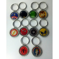 Superhero key chains - Superhero zipper pull - Superhero Tags - Batman - spiderman - ironman - captain america - batgirl - flash - superman
