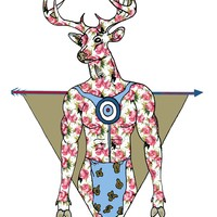 Deer Man w/ a feminine touch, targets and arrows Print
