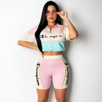 Champion Women Casual Short Sleeve Top Shorts Two-Piece