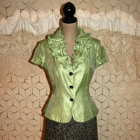 Short Sleeve Cocktail Jacket Dressy Jacket Evening Jacket Lime Green Black Rhinestone Buttons Papell Size 6 Small Medium Womens Clothing