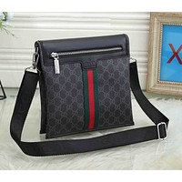 Gucci classic red and green stripes men and women double G print shoulder bag