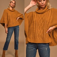 Snowy Sunday Brown Cable Knit Poncho Sweater