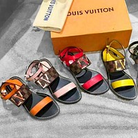 LV Shoes Louis Vuitton Sandals Flat Shoes Tartan print Letters Shoes Multi-color optional