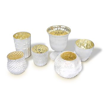 Vintage Glam Pearl White Mercury Glass Tea Light Votive Candle Holders (Set of 6, Assorted Designs and Sizes)