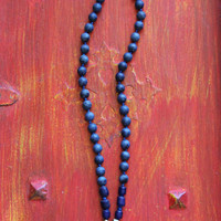 Men's tusk necklace, dark blue agate knotted necklace with lapis pendant