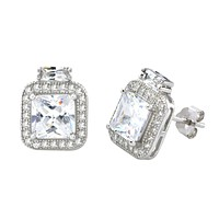 Sterling Silver Square Halo Cubic Zirconia Stud Earrings Micropave 12mm x 10mm