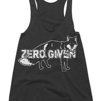 Womens Zero Given Tri-Blend Racerback Tank Fox Tanktop Funny Animal Humor Workout Tanks Gym Fitness Running Gear Girl Fox Tank Gifts For Her