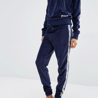 Fila Tracksuit Bottoms With Tape Detail In Velour
