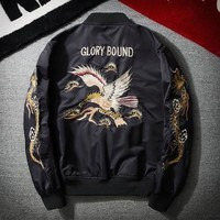 Jaqueta Masculina Men's Bomber Jacket and Coats Vintage Embroidery Hip Hop Kanye West 2018 Autumn Windbreaker Streetwear