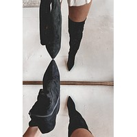Sugar Coat The Truth Black Knee High Boots