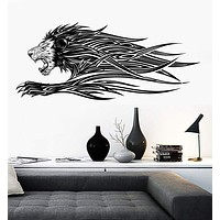 Vinyl Decal Wall Running Lion Mane Fluttering Grin Strength Animal Decal Unique Gift (n774)