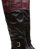 Victorious Wine Contrast Faux Leather Knee High Boots