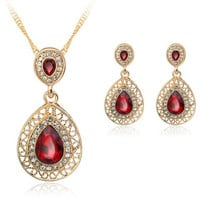 Vintage Faux Ruby Filigree Teardrop Necklace and Earrings