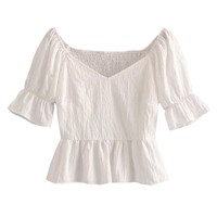 'Drew' Sweetheart Neckline Frilled Cropped Top
