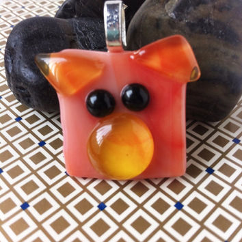 Kawaii Pendant - Animal Pendant - Pig Pendant - Fused Glass Pendant - Animal Charm - Glass Animal - Animal Jewelry - Pet Jewelry