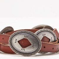AEO Women's Concho Leather Belt (Brown)