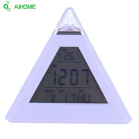 7 Color LED Color Changing Digital Pyramid Style Thermometer Alarm Clock With Calendars