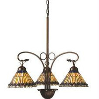 24 Inch W Jeweled Peacock 3 Lt Chandelier Ceiling Fixture