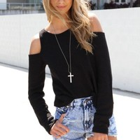 SABO SKIRT  Shoulderless Knit - Black - $42.00