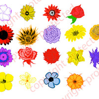 Silhouette Cameo Flower Head Cut Files