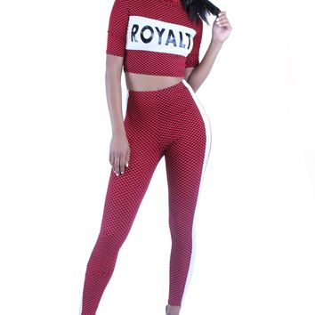 Royalty Check Pattern Contrast Stripe Trim Crop Top and Pants Set