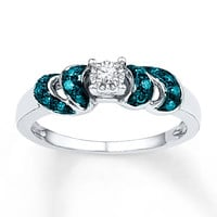 Blue & White Diamonds 1/8 ct tw Round-cut Sterling Silver Ring