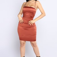 Passionate Satin Dress - Rust