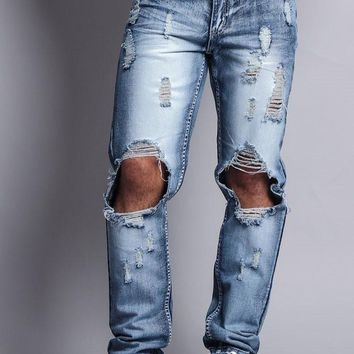 Distressed Knee Hole Slim Ripped Jeans