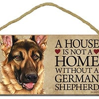"German Shepherd ""A house is not a home without a German Shepherd"" - 5"" x 10"" Door Sign with Bonus 1pc Stand and ""I Love My Dog"" 3 Inch Round Decal"