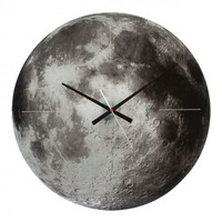 Online Interior Design   The Moon Wall Clock from Karlsson features the stunning backdrop of the moon with intricate detailing showcasing every crater on its surface. Finished with black hour hands and a white second hand, this is a bold piece that will