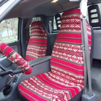 1 Set Of Red Tribal Print Seat Covers and 1 Piece pf Steeling Wheel Cover Custom Made
