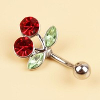 ac PEAPO2Q 2017 New Pretty Rhinestone Red Cherry Navel Belly Button Barbell Ring Body Piercing