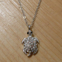 Tiny Silver Sea Turtle Necklace   Candy's Cottage
