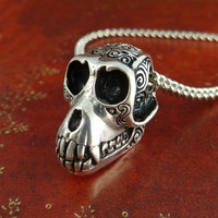 """Monkey Necklace Antique Silver Monkey Skull Pendant on 24"""" Antique Silver Chain"""